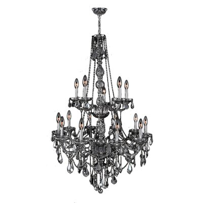 Doggett Traditional 15-Light Crystal Chandelier Crystal Color: Smoke