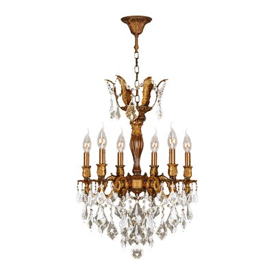 Dodson 6-Light Hardwired Crystal Chandelier Crystal Color: Clear
