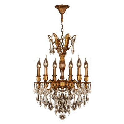 Dodson 6-Light Hardwired Crystal Chandelier Crystal Color: Golden Teak