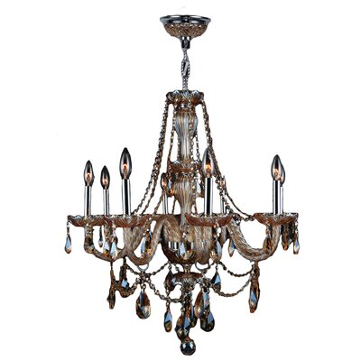 Doggett 8-Light Crystal Chandelier Crystal Color: Amber