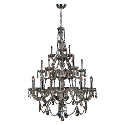 Doggett 21-Light Candle-Style Chandelier Crystal Color: Golden Teak