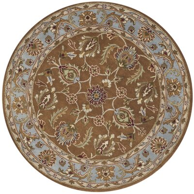 Taylor Brown & Blue Tufted Wool Area Rug Rug Size: Round 6