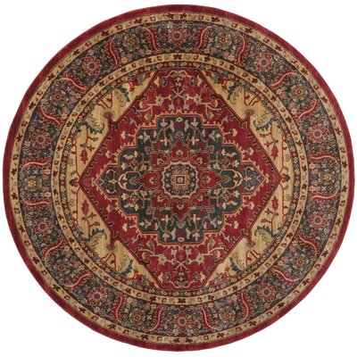 Donner Beige/Red Area Rug Rug Size: Round 67