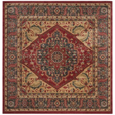 Donner Beige/Red Area Rug Rug Size: Square 67