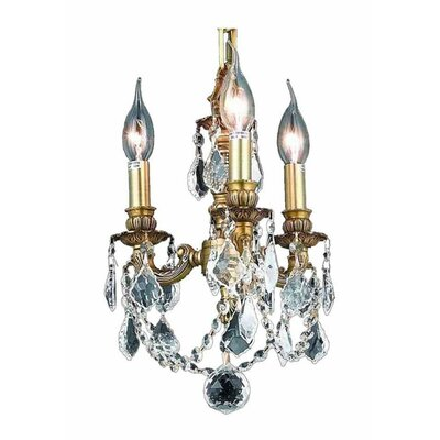 Downes 3-Light Crystal Chandelier Finish / Crystal Color / Crystal Trim: French Gold / Crystal (Clear) / Strass Swarovski