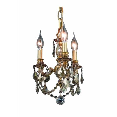 Downes 3-Light Crystal Chandelier Color / Crystal Color / Crystal Trim: French Gold / Smoky / Strass Swarovski