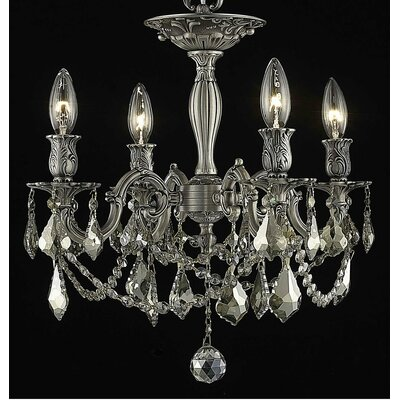 Utica 4-Light Candle-Style Chandelier Crystal Color / Crystal Grade: Golden Teak (Smoky) / Royal Cut