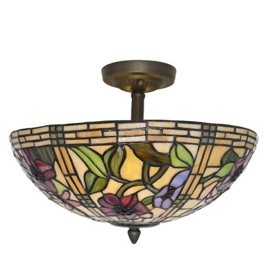 Paule Tiffany Style Stained Glass Peonies 2-Light Semi Flush Mount