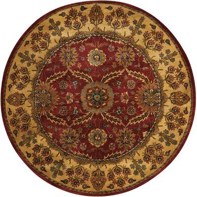 Bassham Red Area Rug Rug Size: Round 6