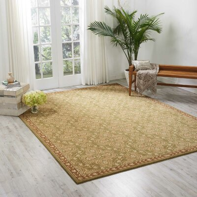 Castanada Green/Tan Rug Rug Size: Rectangle 53 x 75