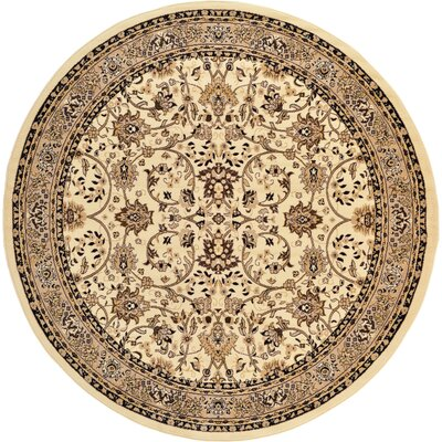 Essehoul Ivory Area Rug Rug Size: Round 8