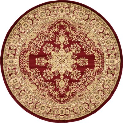 Onsted Red/Beige Area Rug Rug Size: Round 8