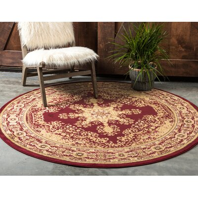 Onsted Red/Beige Area Rug Rug Size: Round 6