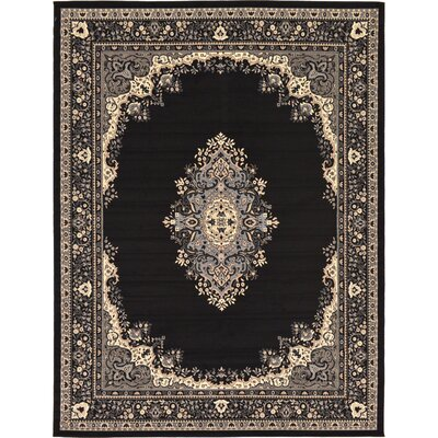 Britain Black Area Rug Rug Size: Rectangle 5 x 8