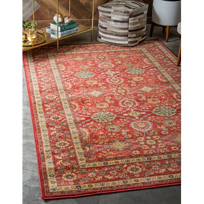 Willow Red Indoor Area Rug Rug Size: Round 8