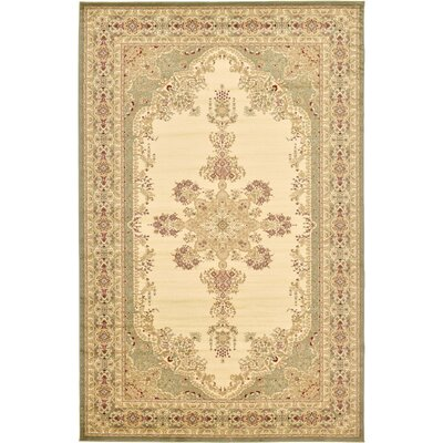 Mullen Beige/Green Area Rug Rug Size: Rectangle 106 x 165