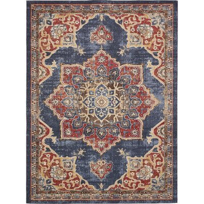 Dulin Blue/Red Area Rug Rug Size: Rectangle 9 x 12