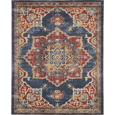 Dulin Blue/Red Area Rug Rug Size: Rectangle 8 x 10