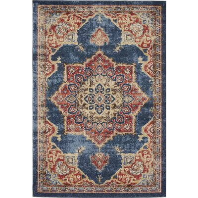 Dulin Blue/Red Area Rug Rug Size: Rectangle 4 x 6