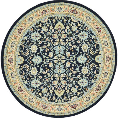 Essehoul Navy Blue Area Rug Rug Size: Round 8