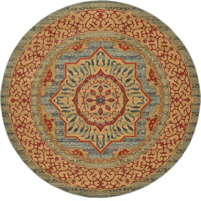 Laurelwood Yellow/Red Area Rug Rug Size: Round 6