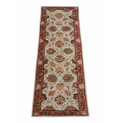 Shephard Hand-Tufted Wool Cream/Red Area Rug Rug Size: Runner 26 x 10