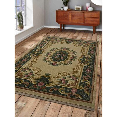 Shephard Hand-Woven Ivory/Green Area Rug Rug Size: Rectangle�2 x 3