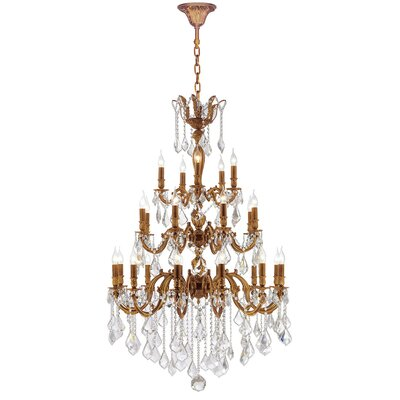 Dodson 25-Light Hardwired Crystal Chandelier Crystal Color: Clear