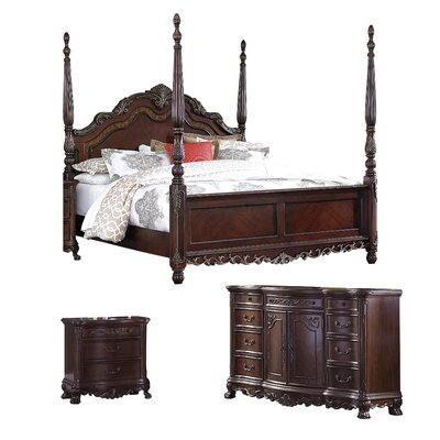 Chalus Queen Four Poster Configurable Bedroom Set