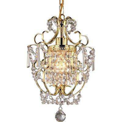 Asner 1-Light Crystal Pendant Finish: Gold