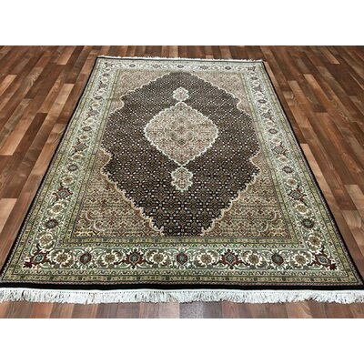 One-of-a-Kind Avonmore Hand-Woven Wool and Silk Brown/Olive Area Rug Rug Size: Rectangle 56 x 8