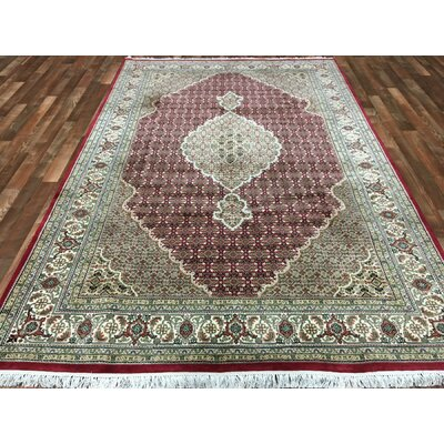 One-of-a-Kind Avonmore Hand-Woven Wool and Silk Olive/Burgundy Area Rug Rug Size: Rectangle 67 x 99
