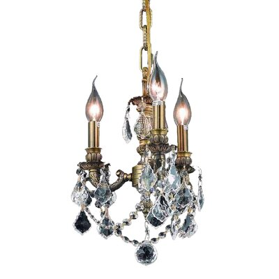 Downes 3-Light Crystal Chandelier Finish / Crystal Color / Crystal Trim: Antique Bronze / Crystal (Clear) / Royal Cut