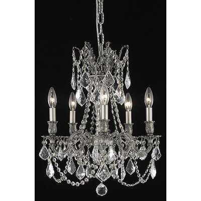 Utica 5-Light Candle-Style Chandelier Crystal Color / Crystal Trim: Crystal (Clear) / Royal Cut