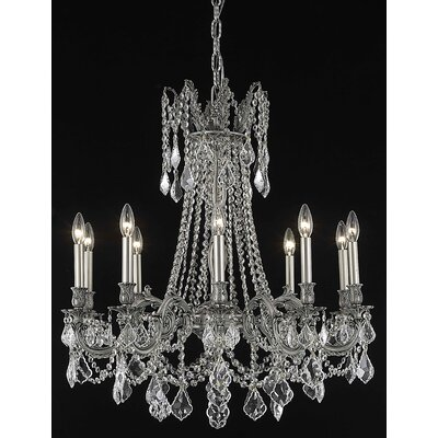 Utica 10-Light Candle-Style Chandelier Crystal Color / Crystal Trim: Golden Teak (Smoky) / Royal Cut