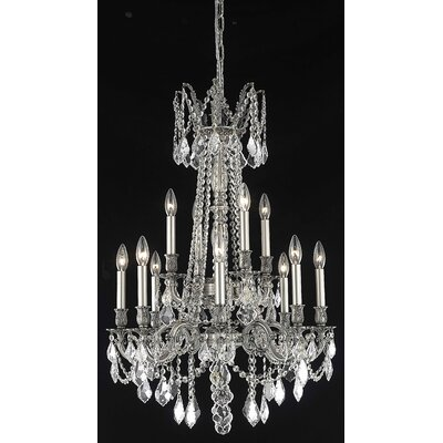 Utica 12-Light Candle-Style Chandelier Crystal Color / Crystal Trim: Golden Teak (Smoky) / Royal Cut