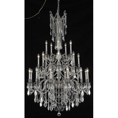 Utica 25-Light Candle-Style Chandelier Crystal Color / Crystal Trim: Golden Teak (Smoky) / Royal Cut