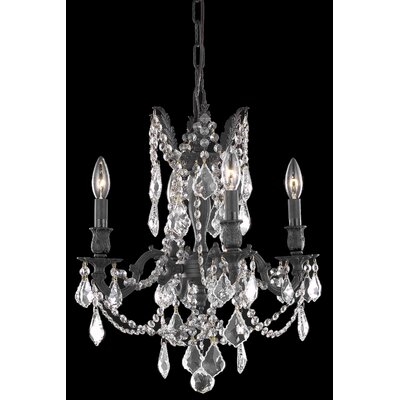 Utica 4-Light Crystal Chandelier Crystal Color / Crystal Trim: Crystal (Clear) / Elegant Cut