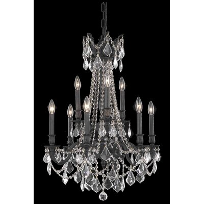 Utica 9-Light Crystal Chandelier Crystal Color / Crystal Trim: Golden Teak (Smoky) / Royal Cut