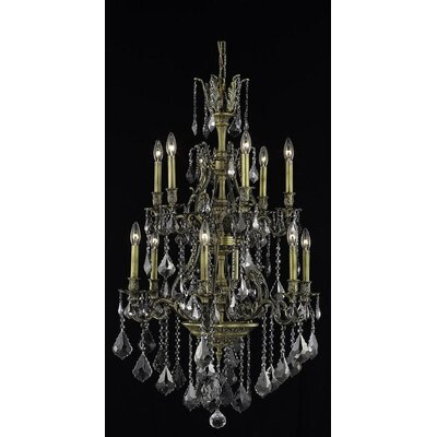Almont 12-Light Candle-Style Chandelier Color / Crystal Color / Crystal Trim: Antique Bronze / Grey / Strass Swarovski