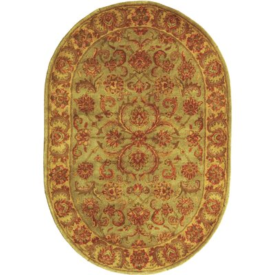 Taylor Hand-Tufted Wool Green/Beige Area Rug Rug Size: Oval 46 x 66