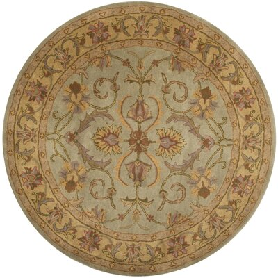 Taylor Hand-Tufted Wool Green/Beige Area Rug Rug Size: Round 6