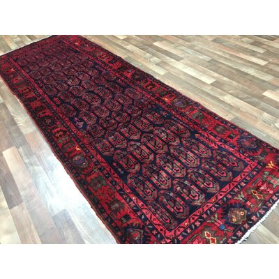 One-of-a-Kind Bethalto Persian Hamadan Hand-Knotted Wool Navy/Red Area Rug