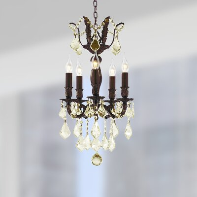 Dodson 5-Light 40W Crystal Chandelier Finish: Flemish Brass
