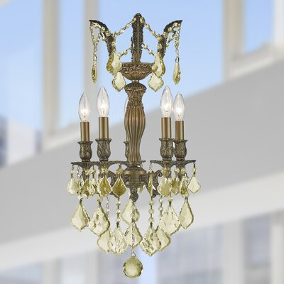 Dodson 5-Light 40W Crystal Chandelier Finish: Antique Bronze