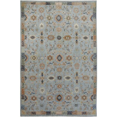 Xenos Hand-Knotted Rectangle Wool Blue/Tan Area Rug