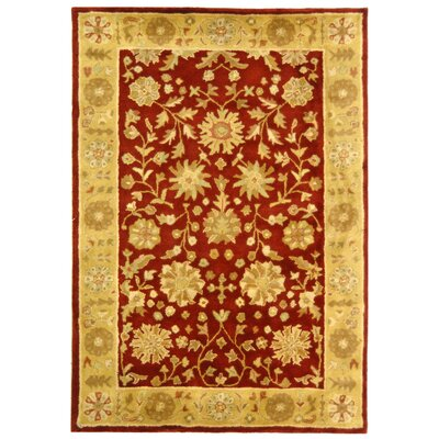Balthrop Red/Gold Floral Area Rug Rug Size: Rectangle 4 x 6