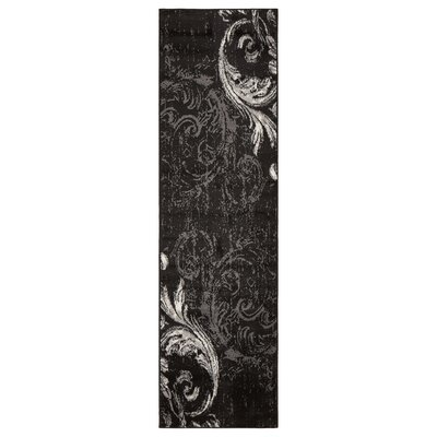 Rueben Anthracite Black Area Rug Rug Size: Runner 21 x 75