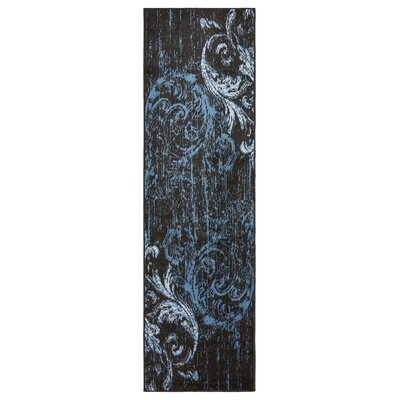 Rueben Black/Blue Area Rug Rug Size: Runner 21 x 75