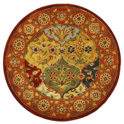 Balthrop Handmade Wool Red/Gold Area Rug Rug Size: Round 6